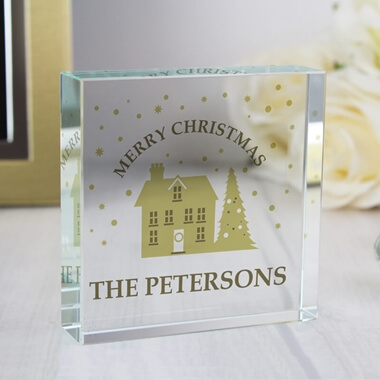 Personalised Festive Village Crystal Token