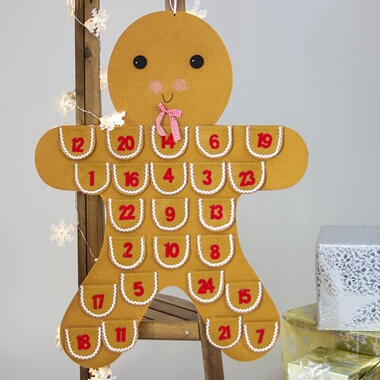 Gingerbread Man Hanging Advent Calendar