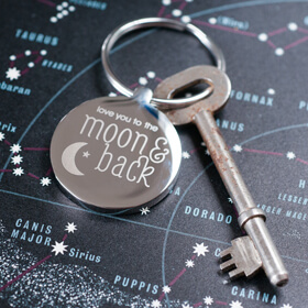 Personalised Moon & Back Keyring