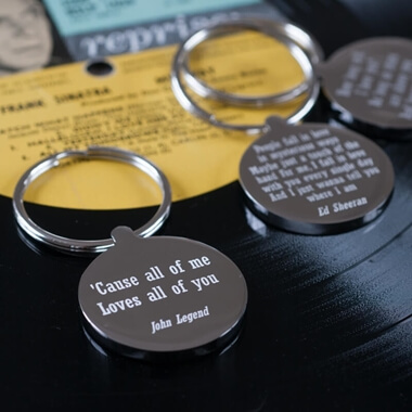 Personalised Favourite Lyric Keyring
