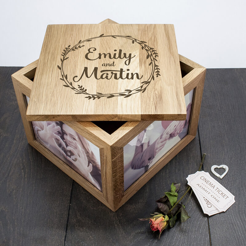 Cool Wedding Gifts For Young Couples: Personalised Couples's Oak Photo Keepsake Box