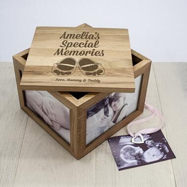 Personalised New Baby Oak Photo Keepsake Box