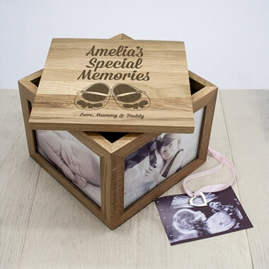 Personalised New Baby Oak Photo Keepsake Box