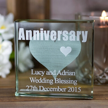 Personalised Square Glass Keepsake - Anniversary