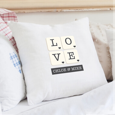 Personalised Love Tiles Cushion Cover