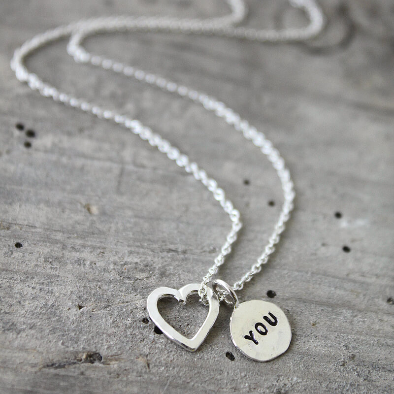 Personalised Heart & Tag Charm Necklace