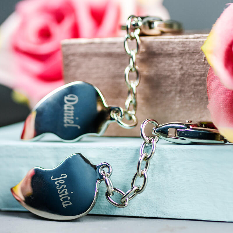 Personalised Heart Keyrings