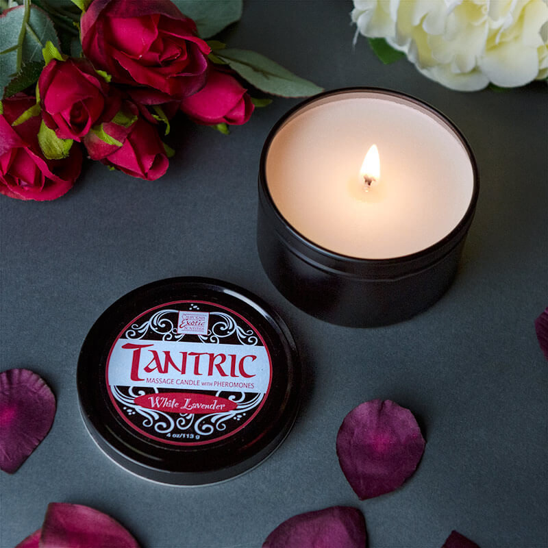 Tantric Soy Massage Candle With Pheromones - White Lavender