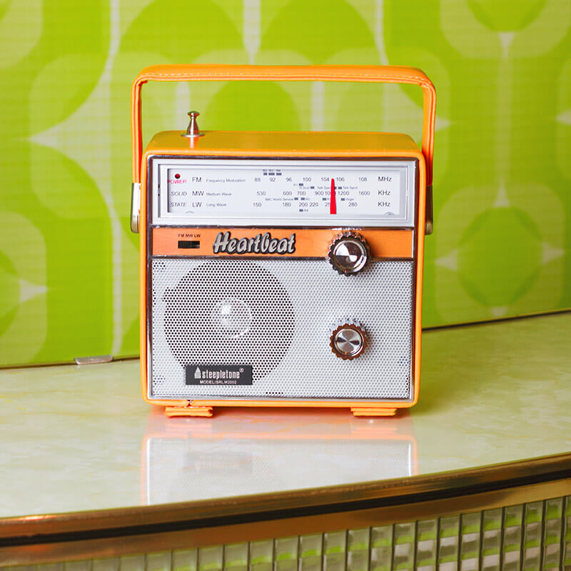 Steepletone Heartbeat 1960s Retro Style Portable Radio - Orange