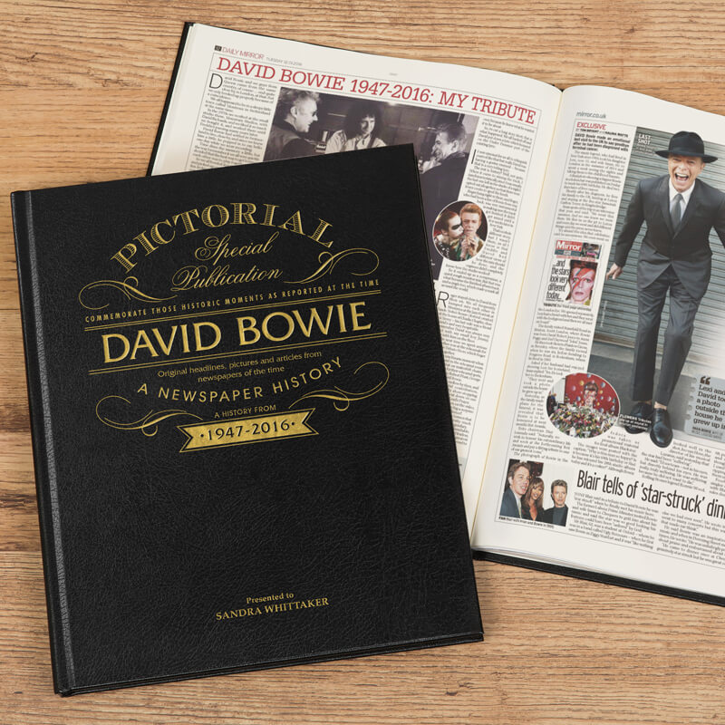 Personalised David Bowie Pictorial Newspaper Book