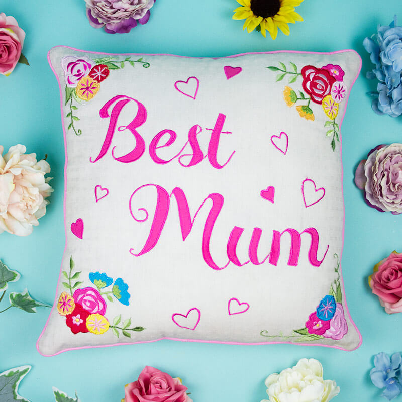 Best Mum Embroidered Cushion