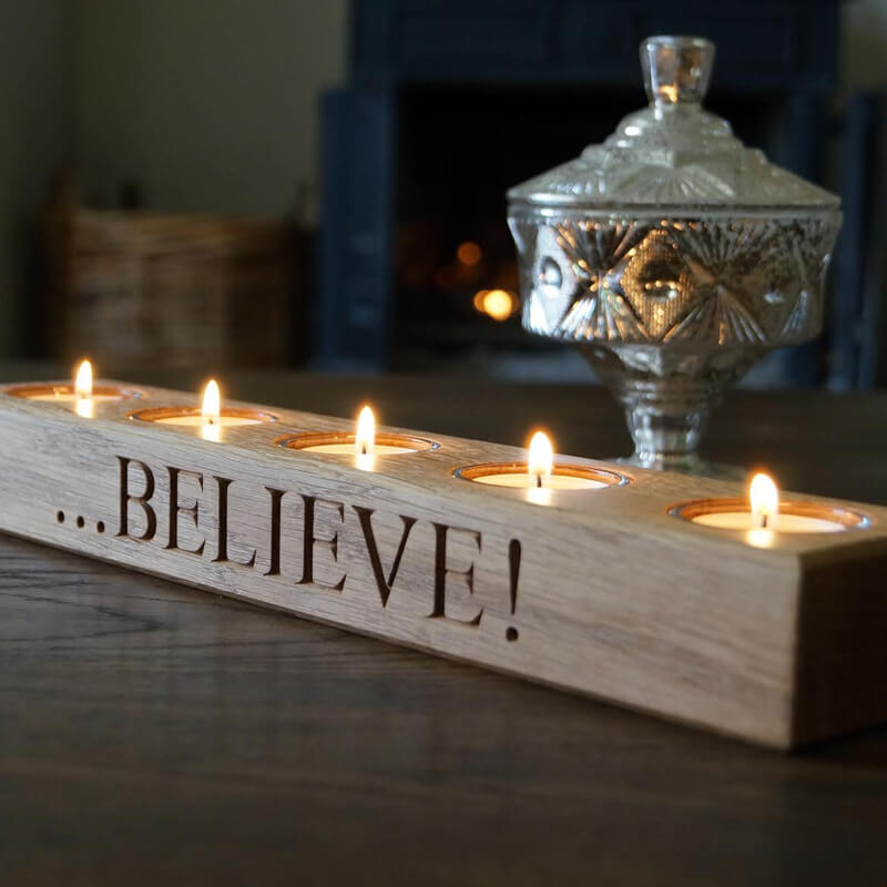 Personalised Wooden Tea Light Holder