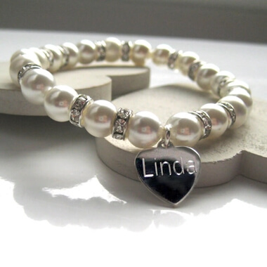 Personalised Diamante Pearl Bracelet