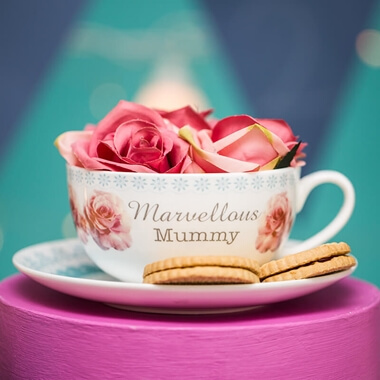 Personalised Rose Teacup & Saucer