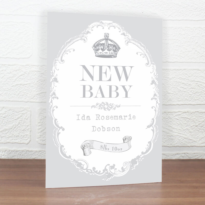 Personalised New Baby Royal Crown Card