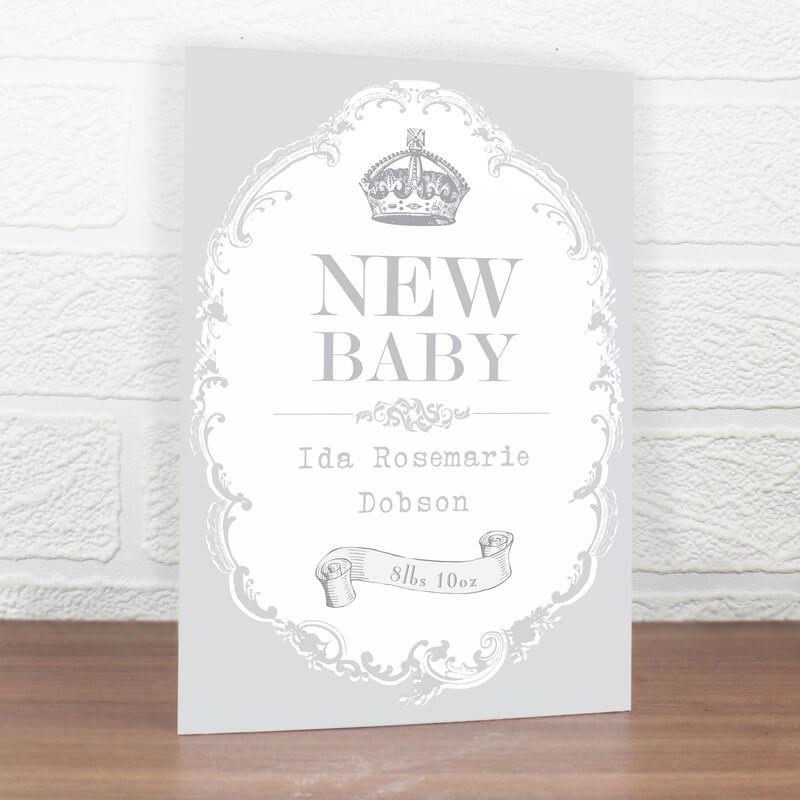 Personalised New Baby Royal Crown Card