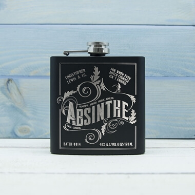 Personalised Absinthe Vintage Hip Flask