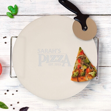 Established Personalised Pizza Stone with Cutter