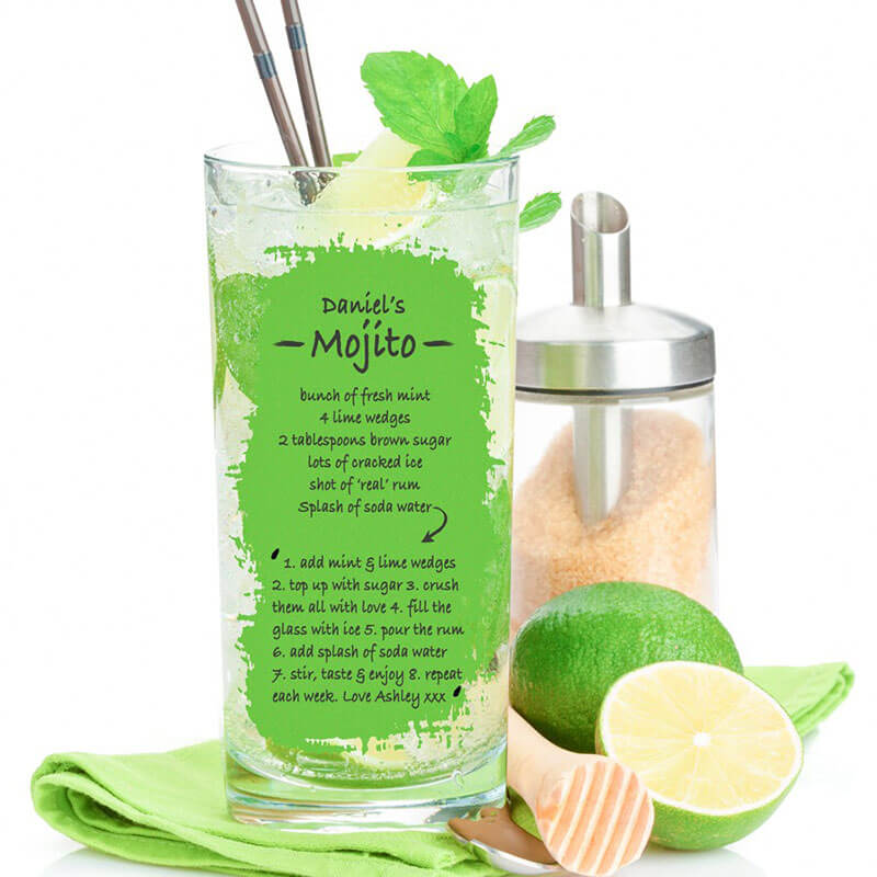 Personalised Mojito Recipe Cocktail Glass