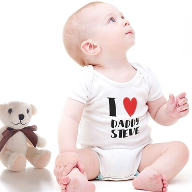 Personalised Baby White Bodysuit - I Love