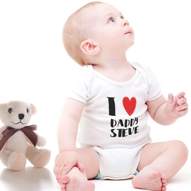 Personalised White Baby Bodysuit - I Love