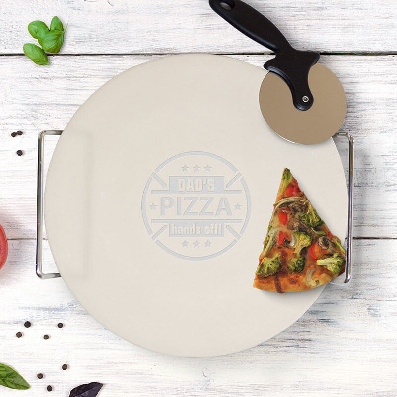 Personalised Pizza Stone with Cutter - Hands Off