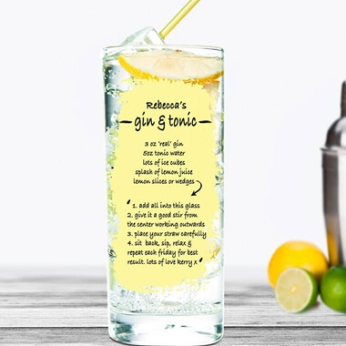 Personalised Gin & Tonic Recipe Cocktail Glass