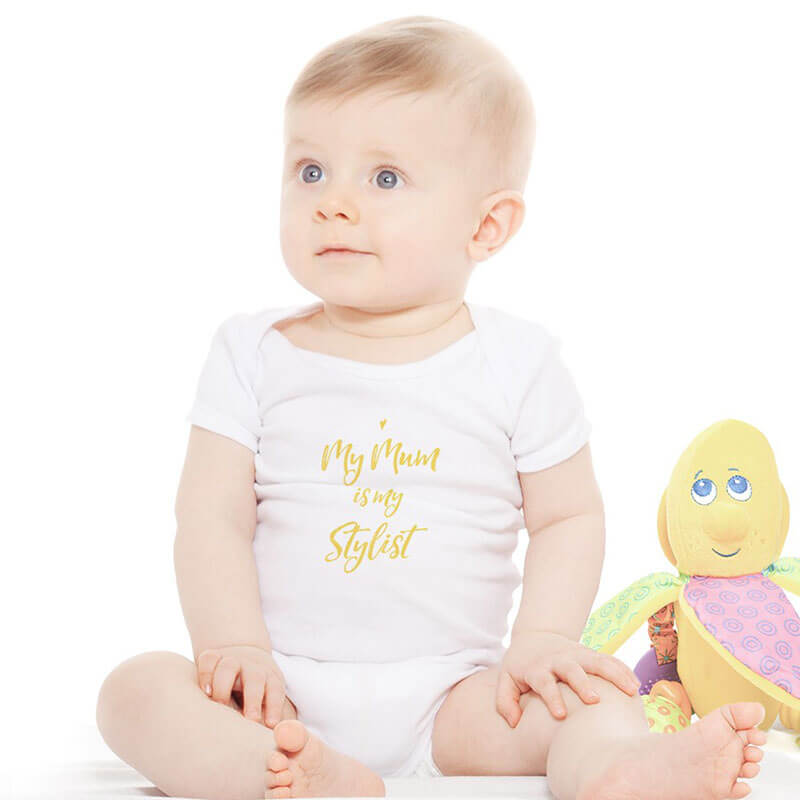 Personalised Girls White Bodysuit - Heart