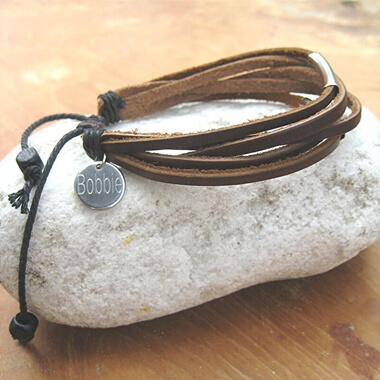 Personalised Leather Bar Bracelet