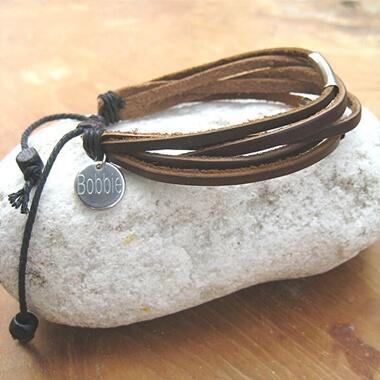 Personalised Leather Bar Bracelet