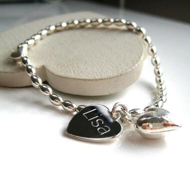 Personalised Silver Beaded Heart Bracelet