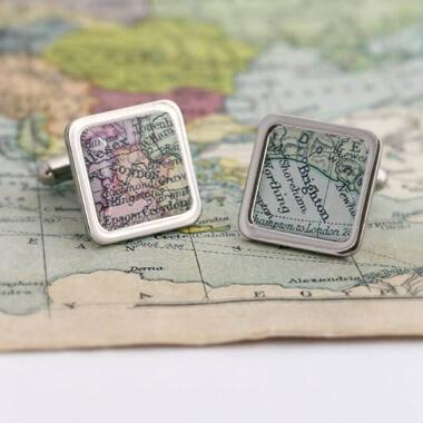 Personalised Vintage Map Cufflinks
