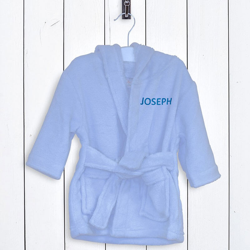 Personalised Children's Fleece Bathrobe - Blue