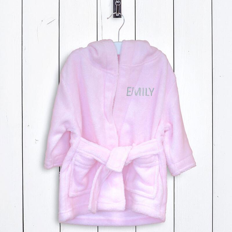 Personalised Children\'s Fleece Bathrobe - Pink - Buy from Prezzybox.com