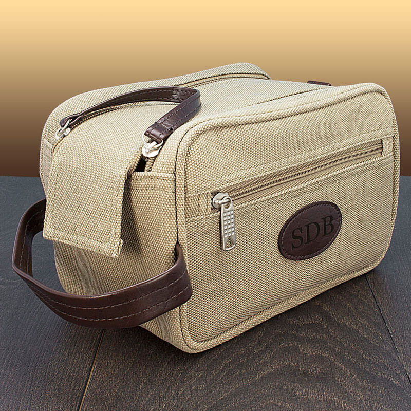 Personalised Double Zipped Canvas Wash Bag