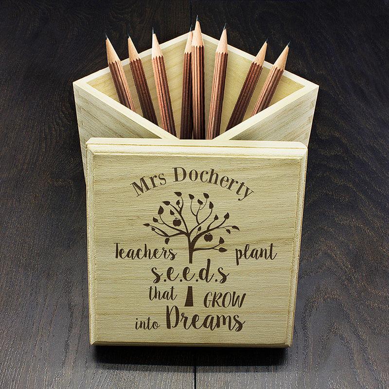 Personalised 'Teachers Plant Seeds' Cube Box