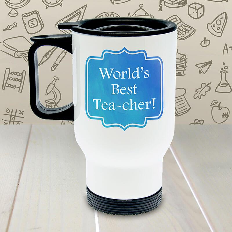 Personalised World's Best TEA-cher Travel Mug