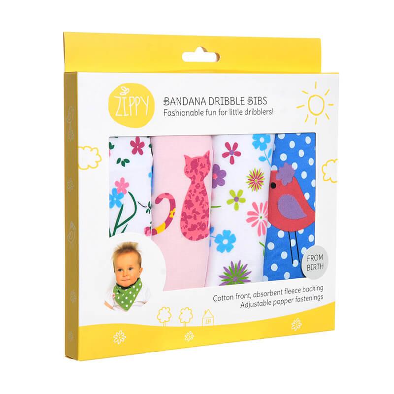 Baby Girl Dribble Bibs - 4 Pack