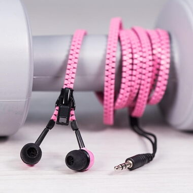 Zip Earphones - Pink