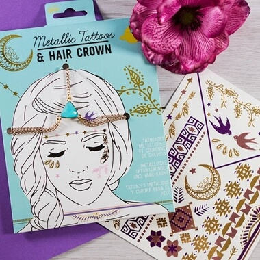 Metallic Tattoos And Hair Crown