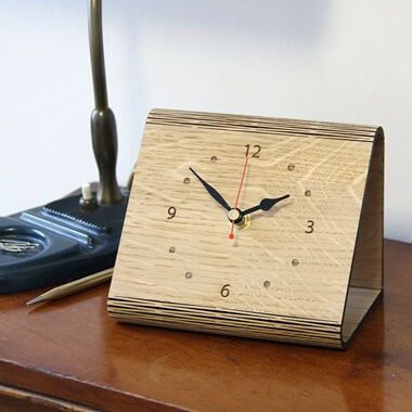Personalised 'Living Hinge' Wooden Clock