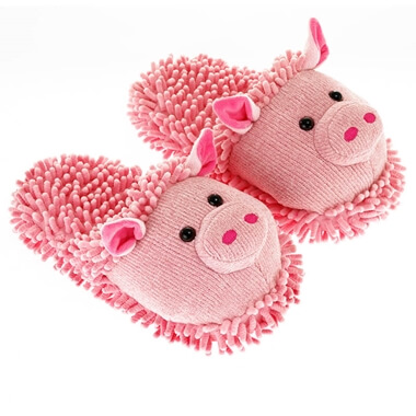 Aroma Home Fuzzy Feet Slippers - Pig