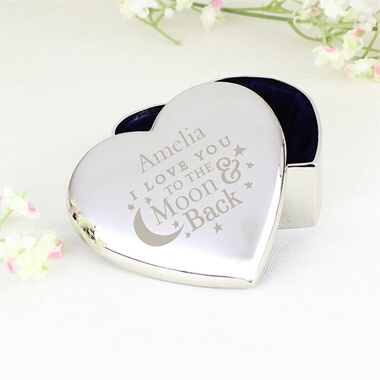 Personalised To the Moon and Back Trinket Box