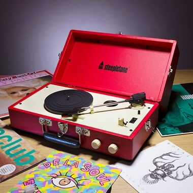Steepletone 1960's Vinyl Record Player -  Red