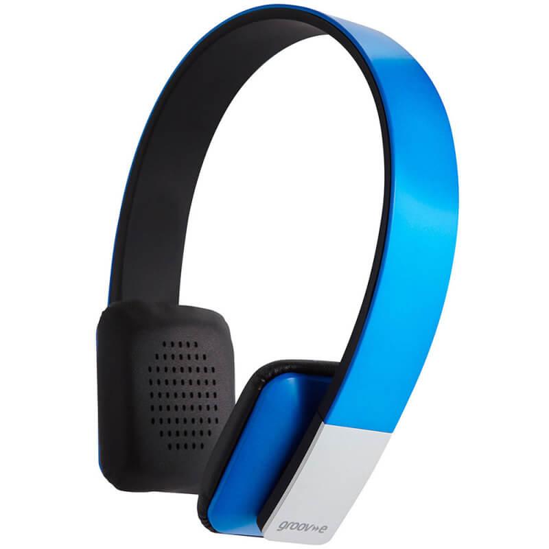 Groov-e Tempo Wireless Bluetooth Headphones With Mic - Blue