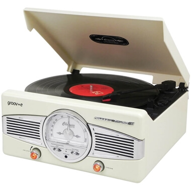 Groov-e Classic Vinyl Record Player With FM Radio And Built-in Speakers - Cream