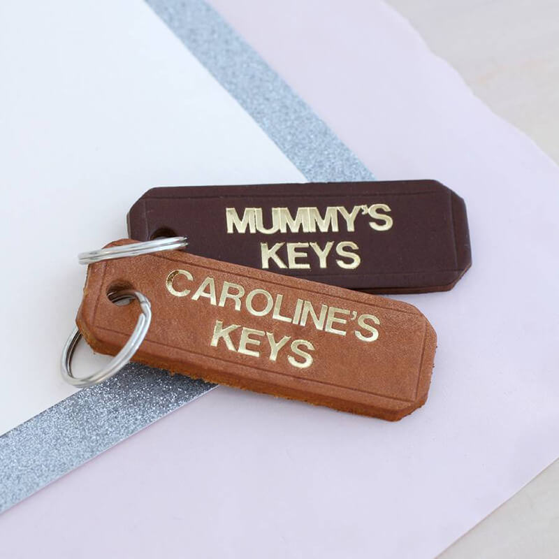 Personalised Gold Embossed Leather Keyring