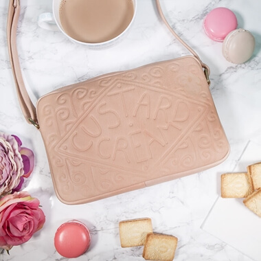 Custard Cream Leather Cross Body Bag