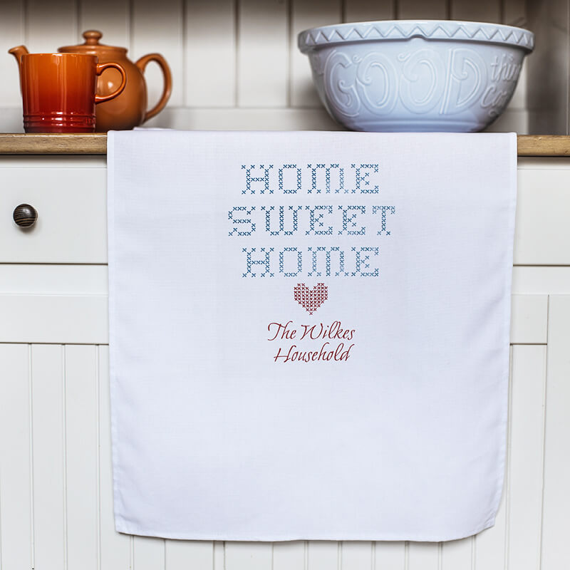 Personalised Home Sweet Home White Tea Towel