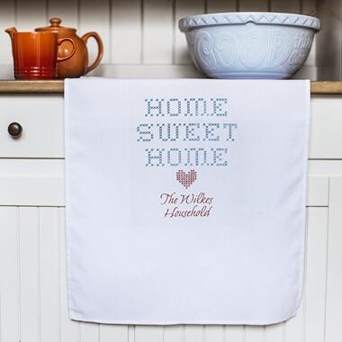 Personalised Home Sweet Home White Tea Towel